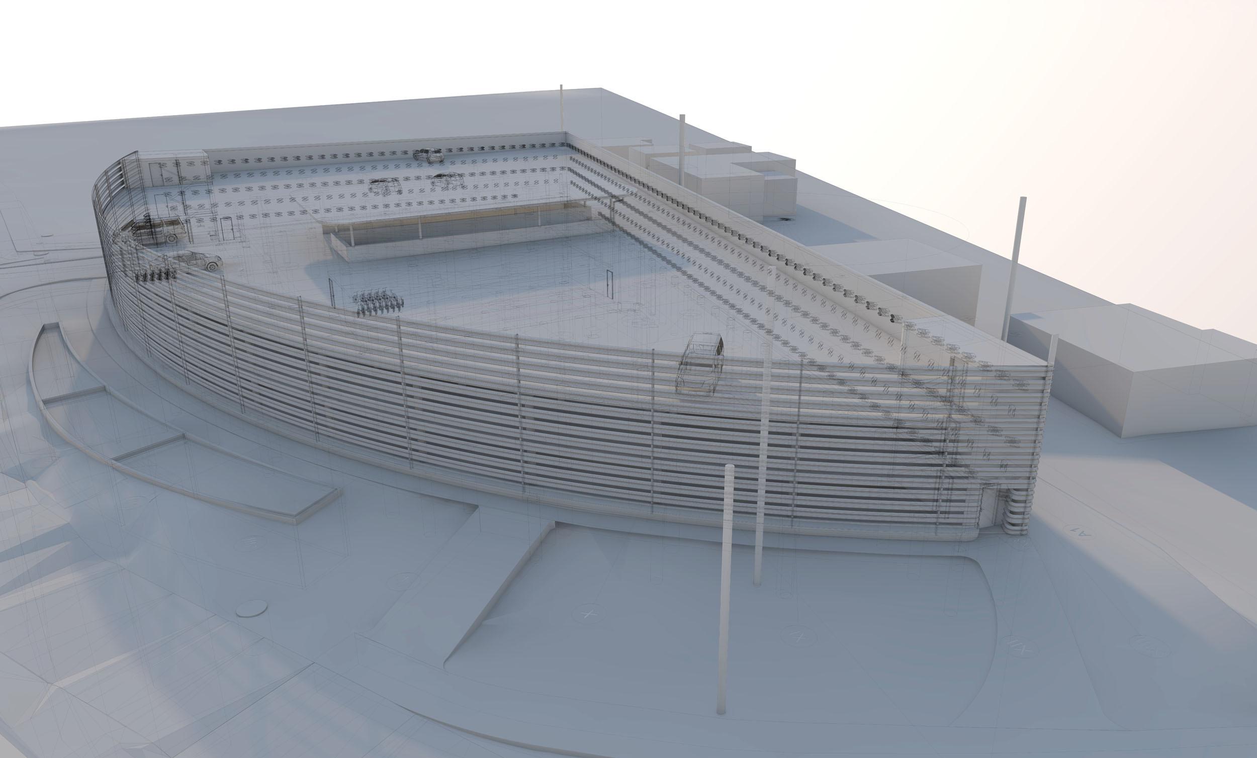 Zdenek Franek Architects, Parkovací dům Dolní Břežany -BIM model