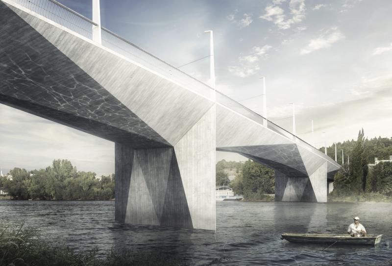 Návrh Dvoreckého mostu v Praze, Atelier 6 & TUBES. Zdroj: Atelier 6