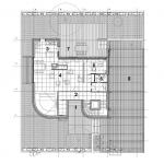 Mstská vila Procházkova, AP ateliér, půdorys 1 NP, 1 závětří, 2 zádveří, 3 kuchyň, 4 obytný prostor, 5 pracovna, 6 toaleta, 7 terasa, 8 garáž