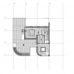 Mstská vila Procházkova, AP ateliér, půdorys 3 NP, 1 šatna, 2 ložnice, 3 koupelna, 4 terasa