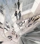 Blue Tape - Architecture school tower - Dubai - soutěž AC-CA - vítěz - Evan Shieh, Ali Chen - USA - vizualizace interiéru