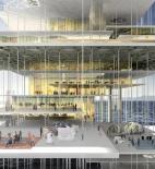 Floating carpets - Architecture school tower - Dubai - soutěž AC-CA - čestné uznání - Kyungsik Kim, Tengjia Liu, Kun Qian - USA - vizualizace exteriéru