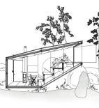 Uhlík architekti - lesní útulna - řezopohled