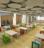 Projektový ateliér DAVID s.r.o. - Mateřská škola v Raspenavě - vizualizace interiéru jídelny