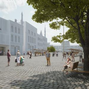 Návrh na úpravu náměstí v Benešově, vizualizace, Marcela Steinbachová, Vít Holý